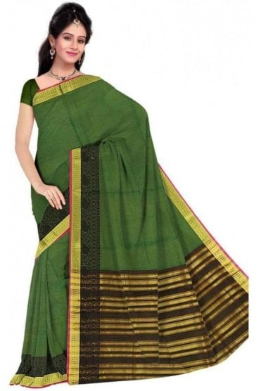 Timeless Black and  Green Faux Cotton Silk Saree with Matching Unstitched Blouse