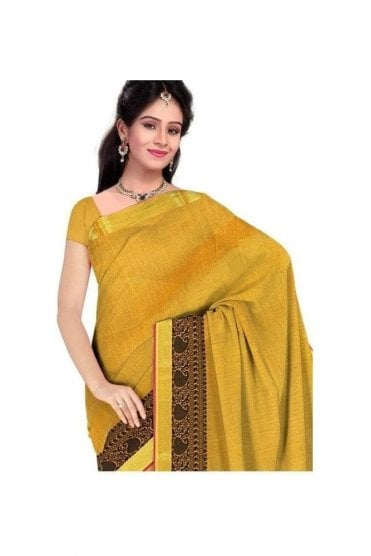 Elegant Black and  Yellow Faux Cotton Silk Saree with Matching Unstitched Blouse