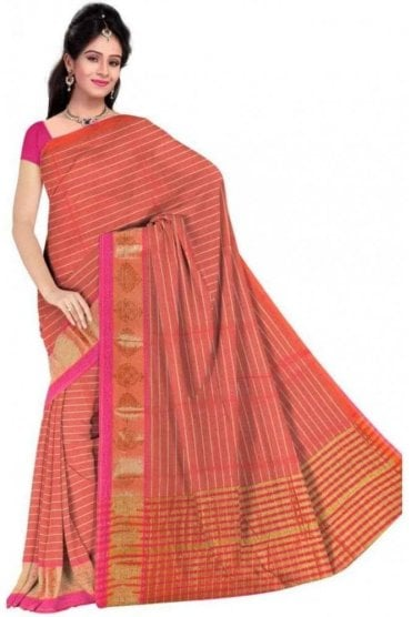 Classic Pink and  Peach Cotton Silk Saree with Matching Unstitched Blouse