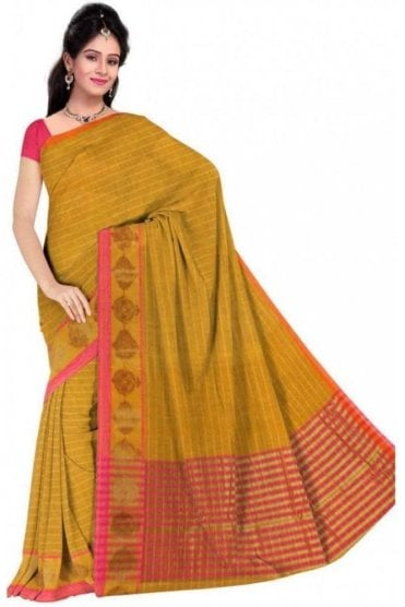 PCS19221  Yellow  and Pink Poly Cotton Saree - With Unstitched Blouse Piece
