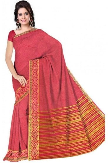 PCS19224  Pink and Magenta Poly Cotton Saree - With Unstitched Blouse Piece
