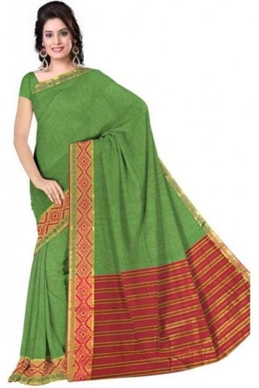 PCS19225  Green and Pink Poly Cotton Saree - With Unstitched Blouse Piece