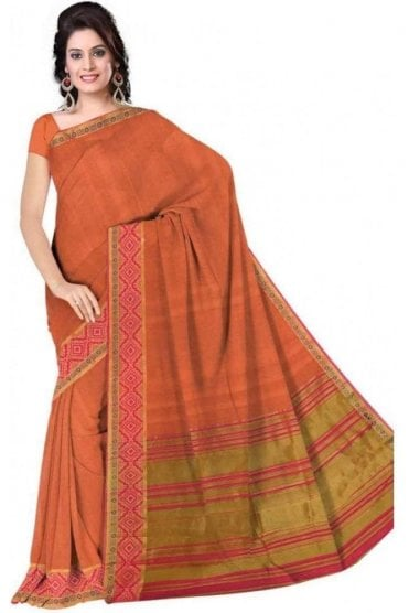 Fancy Pink and  Peach Cotton Silk Saree with Matching Unstitched Blouse