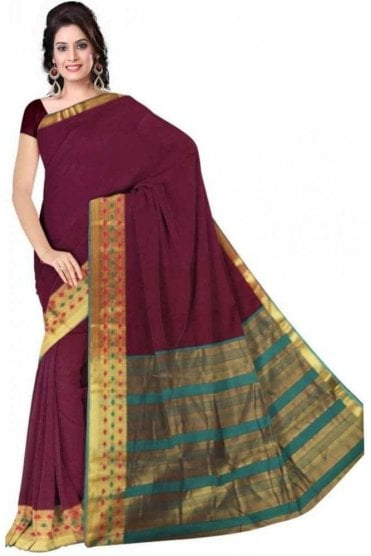 PCS19229  Purple and Jade Green Poly Cotton Saree - With Unstitched Blouse Piece