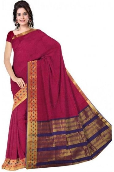 PCS19231  Pink and Purple Poly Cotton Saree - With Unstitched Blouse Piece