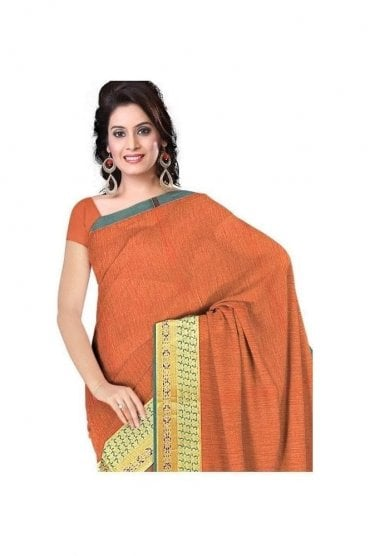 Exclusive Green and  Peach Cotton Silk Saree with Matching Unstitched Blouse