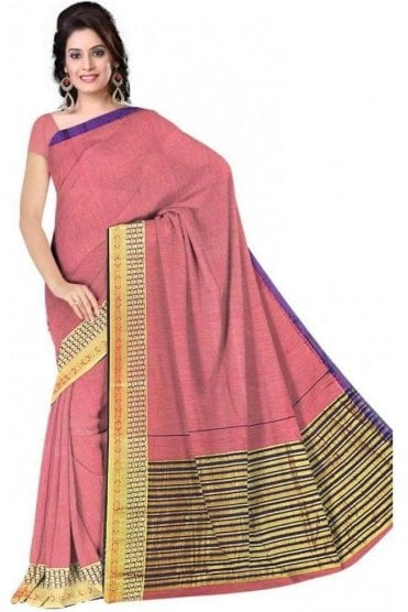 PCS19234  Pink and Purple Poly Cotton Saree - With Unstitched Blouse Piece
