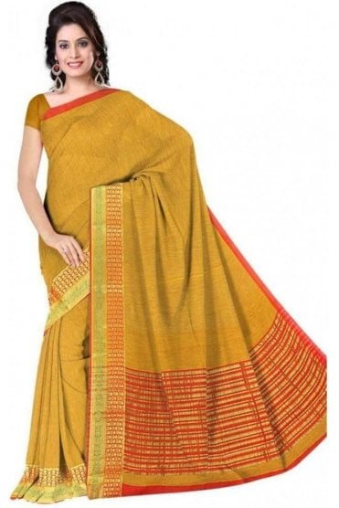 Timeless Red and  Yellow Cotton Silk Saree with Matching Unstitched Blouse