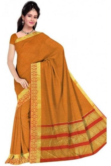 Elegant Red and  Yellow Cotton Silk Saree with Matching Unstitched Blouse
