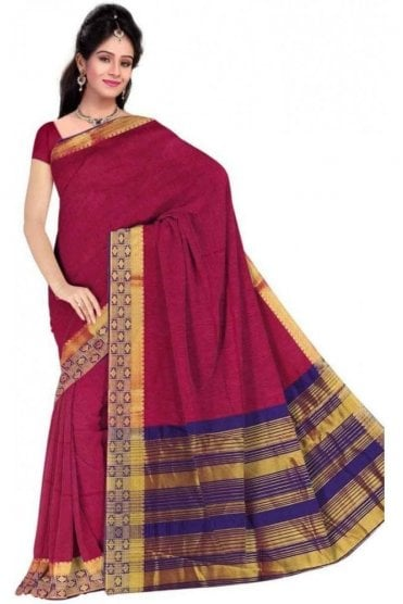 PCS19237  Pink and Purple Poly Cotton Saree - With Unstitched Blouse Piece