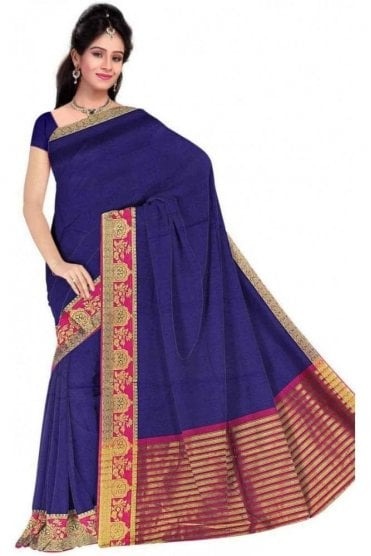 PCS19241  Navy Blue and Pink Poly Cotton Saree - With Unstitched Blouse Piece