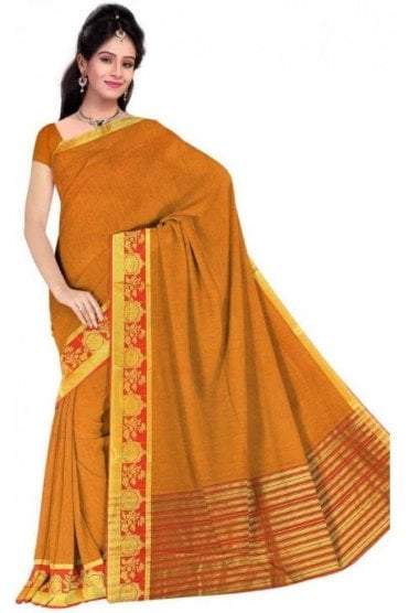 Exquisite Red and  Yellow Cotton Silk Saree with Matching Unstitched Blouse