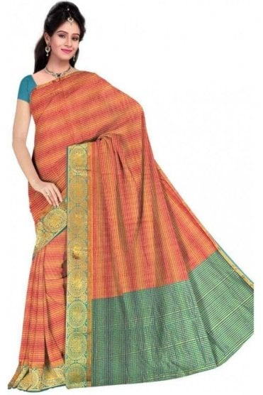 Contemporary Green and  Peach Cotton Silk Saree with Matching Unstitched Blouse
