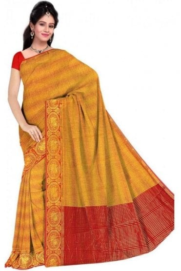 PCS19246  Mustard Yellow and Red Poly Cotton Saree - With Unstitched Blouse Piece