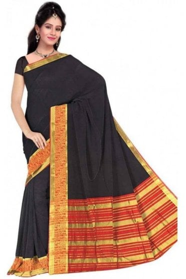 Popular Black and  Red Cotton Silk Saree with Matching Unstitched Blouse