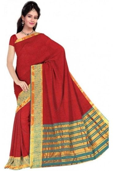PCS19250  Maroon and Jade Green Poly Cotton Saree - With Unstitched Blouse Piece