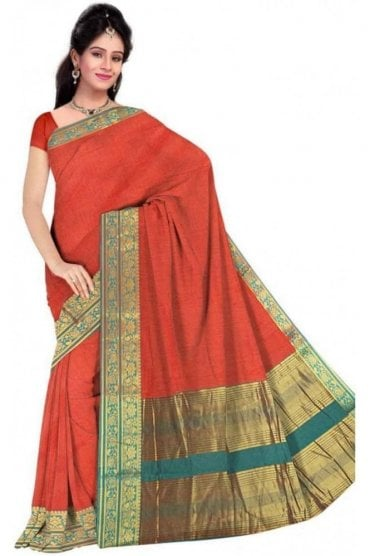 PCS19253  Orange and Jade Green Poly Cotton Saree - With Unstitched Blouse Piece