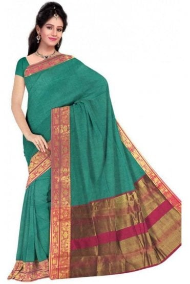 PCS19254  Jade Green and Pink Poly Cotton Saree - With Unstitched Blouse Piece