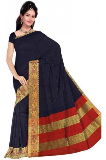 Timeless Red and  Blue Cotton Silk Saree with Matching Unstitched Blouse