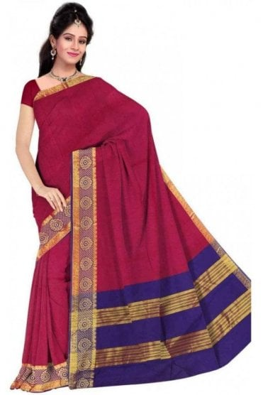 PCS19258  Pink and Blue Poly Cotton Saree - With Unstitched Blouse Piece