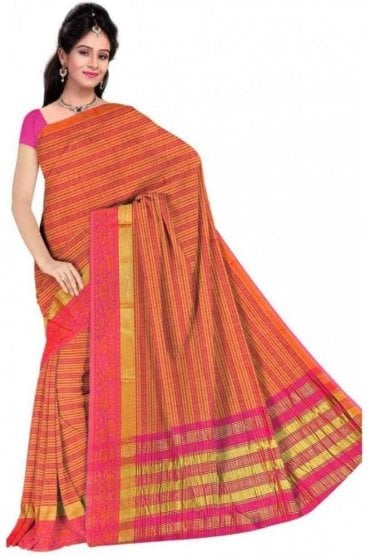Classy Pink and  Peach Cotton Silk Saree with Matching Unstitched Blouse