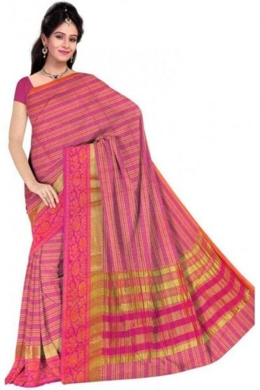 PCS19261  Pink and Magenta Poly Cotton Saree - With Unstitched Blouse Piece