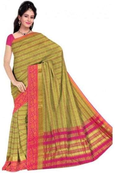 PCS19262  Green and Pink Poly Cotton Saree - With Unstitched Blouse Piece