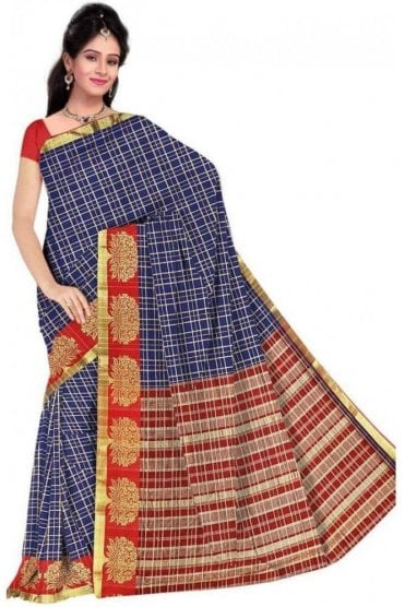 Glamourous Red and  Blue Cotton Silk Saree with Matching Unstitched Blouse