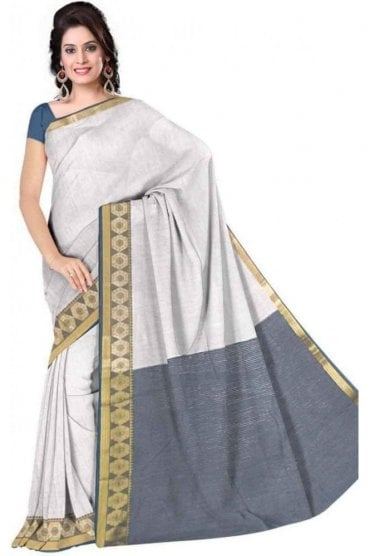 PCS19275  White and Blue Poly Cotton Saree - With Unstitched Blouse Piece