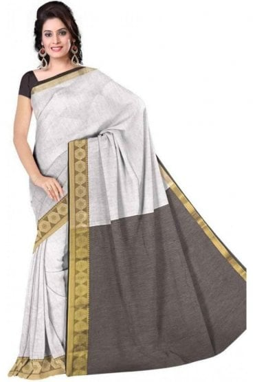 PCS19276  White and Black Poly Cotton Saree - With Unstitched Blouse Piece