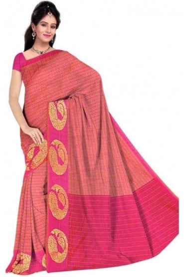 Exclusive Red and  Pink Cotton Silk Saree with Matching Unstitched Blouse