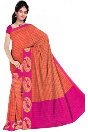 PCS19280  Peach and Pink Poly Cotton Saree - With Unstitched Blouse Piece
