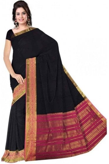PCS19291  Navy Blue and Pink Poly Cotton Saree - With Unstitched Blouse Piece