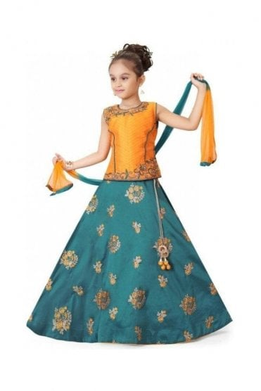 GLC19072 Orange and Jade Green Girl's Lengha Choli