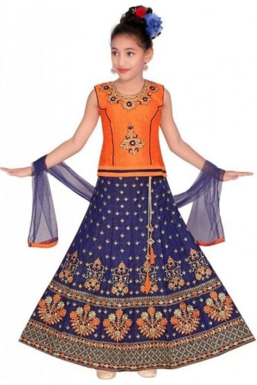 GLC19073 Orange and Blue Girl's Lengha Choli