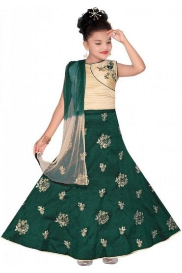 GLC19077 Green and Beige Girl's Lengha Choli
