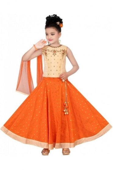 GLC19080 Beige and Orange Girl's Lengha Choli
