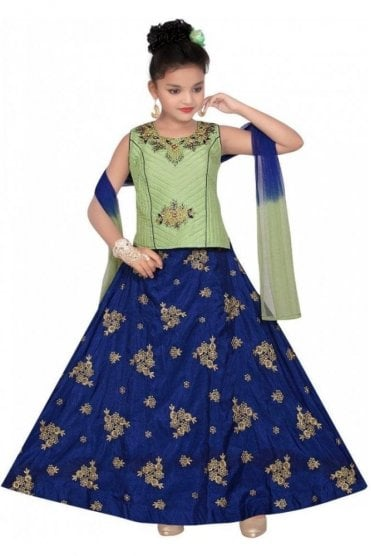 GLC19081 Green and Blue Girl's Lengha Choli