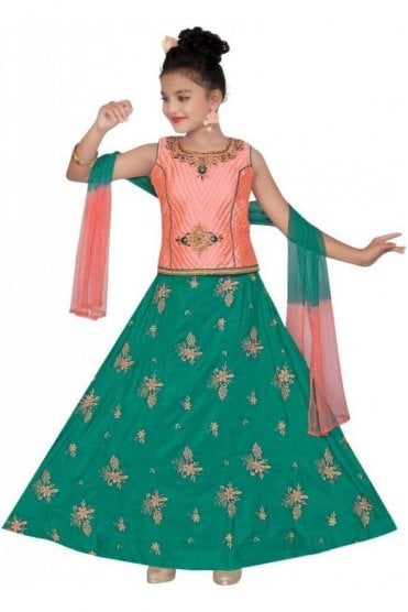 GLC19083 Peach and Green Girl's Lengha Choli