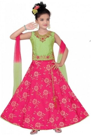 GLC19086 Green and Pink Girl's Lengha Choli