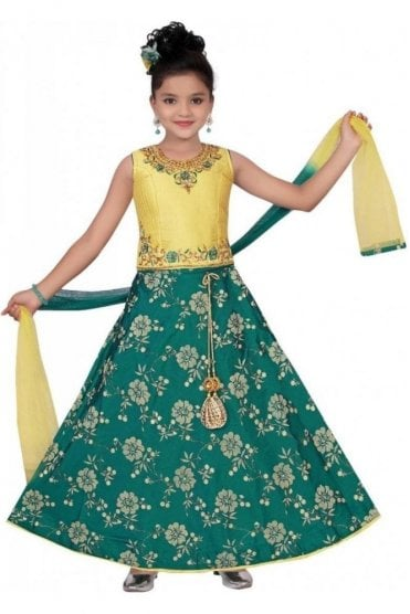 GLC19087 Green and Beige Girl's Lengha Choli