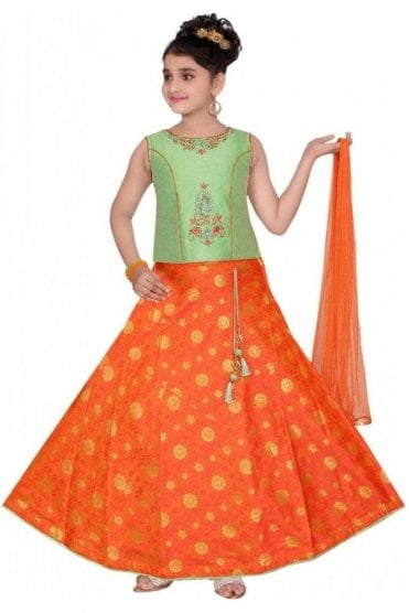 GLC19088 Green and Orange Girl's Lengha Choli