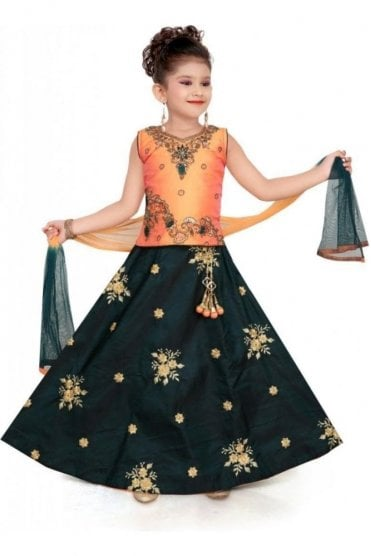 GLC19089 Peach and Teal Green Girl's Lengha Choli