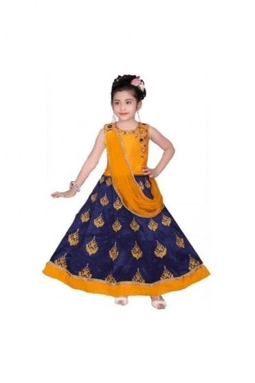 GLC19098 Mustard and Blue Girl's Lengha Choli