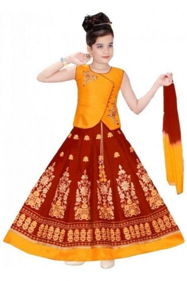 GLC19099 Red and Mustard Girl's Lengha Choli