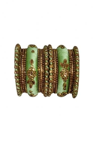 BAK1064-02 Sea Green and Golden Set of 18 Thread and Stone Girl's Bangles