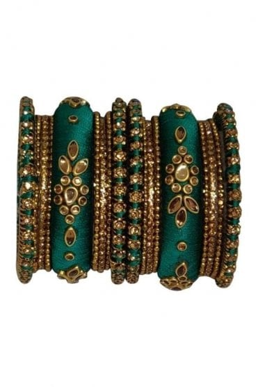 BAK1064-06 Jade Green and Golden Set of 18 Thread and Stone Girl's Bangles