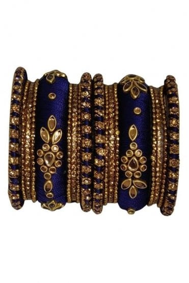 BAK1064-08 Navy Blue and Golden Set of 18 Thread and Stone Girl's Bangles