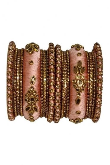 BAK1064-09 Peach and Golden Set of 18 Thread and Stone Girl's Bangles