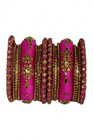 BAK1064-11 Pink and Golden Set of 18 Thread and Stone Girl's Bangles